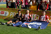 29th May 2021; Wembley Stadium, London, England; English Football League Championship Football, Playoff Final, Brentford FC versus Swansea City; Ivan Toney, Emiliano Marcondes and Mathias Jensen of Brentford pose the Sky Bet EFL Championship Plays-off Trophy after they won 2-0 and promoted to the premier league