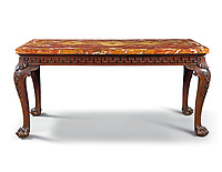 BNPS.co.uk (01202 558833)<br /> Pic: Christies/BNPS<br /> <br /> Pictured: A George II mahogany large side table that sold for £112,500.<br /> <br /> An impressive collection of furniture and artworks amassed by British designer Jasper Conran has sold for a massive £6.7m.<br /> <br /> Several paintings set new world auction records and the top lot was a 16th century portrait of Anthony Maria Browne, that sold for £742,500.<br /> <br /> The collection, which spans four centuries and had been gathered over 30 years, had filled Conran's impressive home at New Wardour Castle in Wiltshire.<br /> <br /> But he put the property on the market last August and after downsizing to a smaller home decided to auction most of his treasures.
