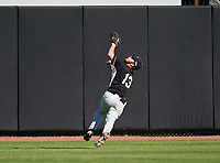 Lakeland Dreadnaughts outfielder Wyatt Wilt (13) tracks a fly ball during a game against the IMG Academy Ascenders on February 20, 2021 at IMG Academy in Bradenton, Florida.  (Mike Janes/Four Seam Images)