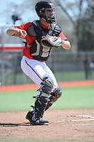 Rutgers University Scarlet Knights catcher Michael Zavala (6) during practice before a game against the University of Cincinnati Bearcats at Bainton Field on April 19, 2014 in Piscataway, New Jersey. Rutgers defeated Cincinnati 4-1.  (Tomasso DeRosa/ Four Seam Images)