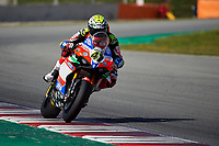 1st April 2021; Circuit de Barcelona Catalunya, Barcelona, Spain; FIM Superbike World Championship Testing; Axel Bssani of the Motocorsa Team rides the Worldsbk Ducati Panigale V4 R