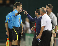 Ben Olsen of D.C. United and Dominic Kinnear of the Houston Dynamo are sent off during an MLS match at RFK Stadium in Washington D.C. on September  25 2010. Houston won 3-1.
