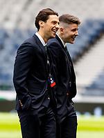 22nd May 2021; Hampden Park, Glasgow, Scotland; Scottish Cup Football Final, St Johnstone versus Hibernian;  Joe Newell of Hibernian and Kevin Nisbet of Hibernian inspects the pitch before kick off