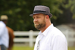 June 8, 2012. The announcement is made on June 8, 2012 that I'll Have Another is scratched from the Belmont Stakes at Belmont Park in Elmont, New York, thus ending his chances to be the first Triple Crown winner since Affirmed in 1978. Trainer Doug O'Neill takes part in a press conference outside the stakes barn.   Belmont Park Race Track, Elmont, NY. ©Joan Fairman Kanes/Eclipsesportswire