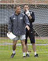 29/07/2005         Copyright Pic : James Stewart.File Name : jspa04 falkirk training.FALKIRK GOALKEEPER MATT GLENNON WATCHES AS MANAGER JOHN HUGHES TAKES HIS FINAL TRAINING SESSION BEFORE HIS TEAM'S DEBUT IN THE SCOTTISH PREMIER LEAGUE.....Payments to :.James Stewart Photo Agency 19 Carronlea Drive, Falkirk. FK2 8DN      Vat Reg No. 607 6932 25.Office     : +44 (0)1324 570906     .Mobile   : +44 (0)7721 416997.Fax         : +44 (0)1324 570906.E-mail  :  jim@jspa.co.uk.If you require further information then contact Jim Stewart on any of the numbers above.........