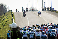 peloton about to catch the last 2 remaining fugitives<br /> <br /> Stage 1 from Lido di Camaiore to Lido di Camaiore (156km)<br /> <br /> 56th Tirreno-Adriatico 2021 (2.UWT) <br /> <br /> ©kramon