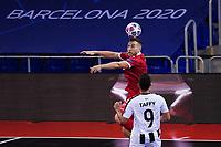 9th October 2020; Palau Blaugrana, Barcelona, Catalonia, Spain; UEFA Futsal Champions League Finals; Mrucia FS versus MFK Tyumen;   Rafa wins the clearing header from Taffy of Mrucia