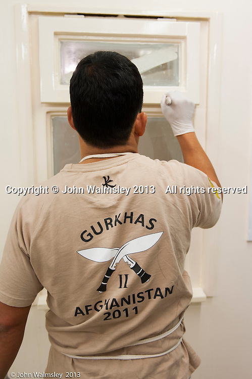 Gurkhas, leaving the British army, on a training course to work in the construction industry, Able Skills training centre, Dartford, Kent.