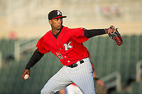 Kannapolis Intimidators starting pitcher Luis Martinez (29) in action against the Hickory Crawdads at Kannapolis Intimidators Stadium on April 7, 2016 in Kannapolis, North Carolina.  The Crawdads defeated the Intimidators 5-1.  (Brian Westerholt/Four Seam Images)