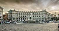 Fine Art Landscape Print Photograph of the Piazza della Repubblica in Rome. The former name of the piazza, Piazza dell'Esedra, is still very common today.<br /> The dramatic lighting of the sky, the fountain and the building captivate the viewers eyes towards the beauty of this street scene.