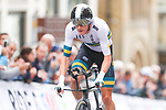 Rohan Dennis of Australia on his way to the finish line to win the Men Elite Individual Time Trial of the UCI World Championships 2019 running 54km from Northallerton to Harrogate, England. 25th September 2019.<br /> Picture: Simon Wilkinson/SWpix.com | Cyclefile<br /> <br /> All photos usage must carry mandatory copyright credit (© Cyclefile | Simon Wilkinson/SWpix.com)