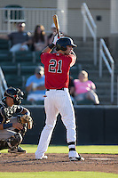 Louie Lechich (21) of the Kannapolis Intimidators at bat against the Asheville Tourists at Intimidators Stadium on June 28, 2015 in Kannapolis, North Carolina.  The Tourists defeated the Intimidators 6-4.  (Brian Westerholt/Four Seam Images)
