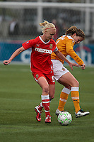 Caroline Seger (9) of the Western New York Flash and Cat Whitehill  of the Atlanta Beat battle for the ball during the second half of WPS play at Sahlen's Stadium in Rochester, NY May 01, 2011. New York 3, Atlanta 0.
