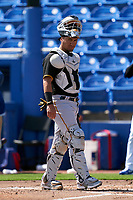Pittsburgh Pirates catcher Michael Perez (5) during a Major League Spring Training game against the Toronto Blue Jays on March 1, 2021 at TD Ballpark in Dunedin, Florida.  (Mike Janes/Four Seam Images)