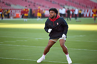 LOS ANGELES, CA - SEPTEMBER 11: Nathaniel Peat #8 of the Stanford Cardinal warms up before a game between University of Southern California and Stanford Football at Los Angeles Memorial Coliseum on September 11, 2021 in Los Angeles, California.