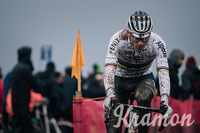CX world champion Mathieu Van der Poel (NED/Alpecin-Fenix) leading the race<br /> <br /> UCI cyclo-cross World Cup Dendermonde 2020 (BEL)<br /> Men's Race<br /> <br /> ©kramon