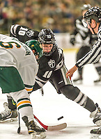 29 December 2014: Providence College Friar Forward Mark Jankowski, a Junior from Dundas, Ontario, takes a first period face-off against the University of Vermont Catamounts during the deciding game of the annual TD Bank-Sheraton Catamount Cup Tournament at Gutterson Fieldhouse in Burlington, Vermont. The Friars shut out the Catamounts 3-0 to win the 2014 Cup. Mandatory Credit: Ed Wolfstein Photo *** RAW (NEF) Image File Available ***