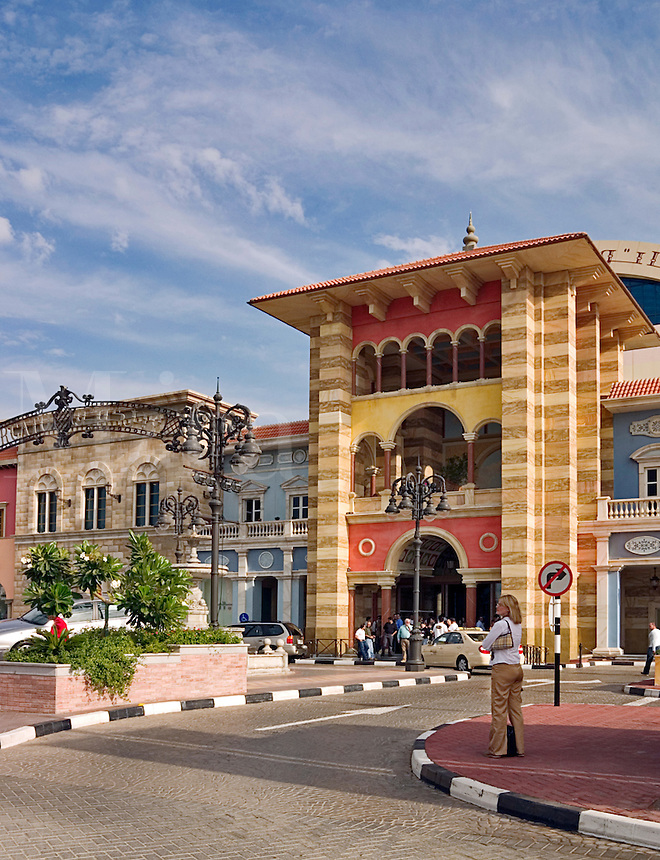 Dubai. United Arab Emirates. Fac?ade and entrance to Mercato Shopping Mall. Cafe? and shops. Italian style..