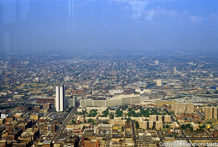 Chicago: Panorama from Hancock, looking west to Montgomery-Ward Warehouse along north branch of Chicago R.  Photo '88.