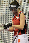 Berlin, Germany, February 10: During the FIH Indoor Hockey World Cup quarterfinal match between Germany (black) and Poland (red) on February 10, 2018 at Max-Schmeling-Halle in Berlin, Germany. Final score 3-1. (Photo by Dirk Markgraf / www.265-images.com) *** Local caption *** Joanna WIELOCH #8 of Poland