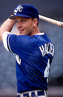 Shane Halter of the Kansas City Royals plays in a baseball game at Edison International Field during the 1998 season in Anaheim, California. (Larry Goren/Four Seam Images)