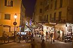 Night pedestrian street, Calvi, West Coast Corsica, Corsica, France, towns in Corsica, French coastal villages, Corsican coast,