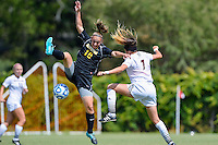 Appalachian State midfielder / forward Kebrina Keys (10) and Texas State midfielder Ali Myers (7) during first half of an NCAA soccer game, Sunday, October 05, 2014 in San Marcos, Tex. Texas State leads 1-0 at the halftime. (Mo Khursheed/TFV Media via AP Images)