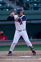 Catcher Ryan Hampe (34) of the Illinois Fighting Illini bats in a game against the Ohio State Buckeyes on Friday, March 5, 2021, at Fluor Field at the West End in Greenville, South Carolina. (Tom Priddy/Four Seam Images)