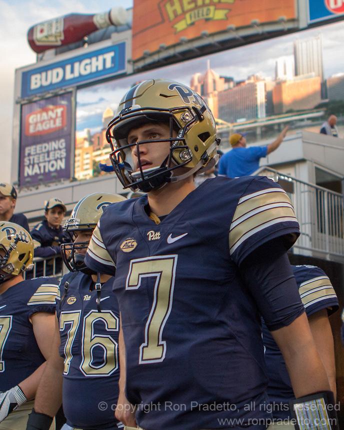 Pitt quarterback Thomas MacVittie. The Pitt Panthers defeated the Marshall Thundering Herd 43-27 on October 1, 2016 at Heinz Field in Pittsburgh, Pennsylvania.