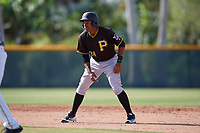 Pittsburgh Pirates third baseman Julio de la Cruz (24) leads off second base during a minor league Extended Spring Training intrasquad game on April 1, 2017 at Pirate City in Bradenton, Florida.  (Mike Janes/Four Seam Images)