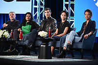 """PASADENA, CA - JANUARY 13: Jesse Angelo, President, Global News and Entertainment, Subrata De, Executive Producer and Showrunner, Seb Walker, Vice News DC Bureau Chief/Correspondent, Host and Correspondent Paola Ramos, and Isobel Yeung, Correspondent attend the panel for """"VICE"""" during the Showtime presentation at the 2020 TCA Winter Press Tour at the Langham Huntington on January 13, 2020 in Pasadena, California. (Photo by Frank Micelotta/PictureGroup)"""