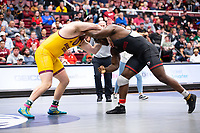 STANFORD, CA - March 7, 2020: Tanner Hill of Arizona State University and David Showumi of Stanford during the 2020 Pac-12 Wrestling Championships at Maples Pavilion.