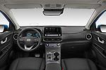 Stock photo of straight dashboard view of 2021 Hyundai Kona-EV Sky 5 Door SUV Dashboard
