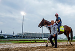 April 29, 2021: Helium, trained by trainer Mark Casse, exercises in preparation for the Kentucky Derby at Churchill Downs on April 29, 2021 in Louisville, Kentucky. Scott Serio/Eclipse Sportswire/CSM