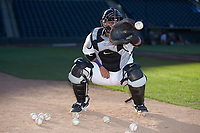 Winston-Salem Dash catcher Daniel Gonzalez (16) does some defensive drills prior to the game against the Wilmington Blue Rocks at BB&T Ballpark on April 16, 2019 in Winston-Salem, North Carolina. The Blue Rocks defeated the Dash 4-3. (Brian Westerholt/Four Seam Images)