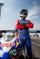 Sept. 1, 2013; Clermont, IN, USA: NHRA pro stock motorcycle rider Hector Arana Sr during qualifying for the US Nationals at Lucas Oil Raceway. Mandatory Credit: Mark J. Rebilas-