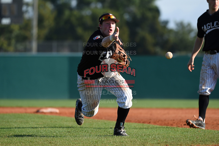 Edgewood Eagles Nick Lehner (18) during the first game of a doubleheader against the Plymouth State Panthers on March 17, 2015 at Terry Park in Fort Myers, Florida.  Edgewood defeated Plymouth State 12-3.  (Mike Janes/Four Seam Images)