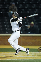 Johnny Aiello (2) of the Wake Forest Demon Deacons follows through on his swing against the Florida State Seminoles at David F. Couch Ballpark on March 9, 2018 in  Winston-Salem, North Carolina.  The Seminoles defeated the Demon Deacons 7-3.  (Brian Westerholt/Four Seam Images)