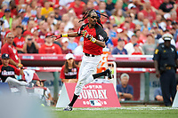 Rapper Snoop Dogg running the bases during the All-Star Legends and Celebrity Softball Game on July 12, 2015 at Great American Ball Park in Cincinnati, Ohio.  (Mike Janes/Four Seam Images)