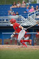 Williamsport Crosscutters second baseman Jake Scheiner (3) hits an infield single and drives in a run during the first game of a doubleheader against the Batavia Muckdogs on August 20, 2017 at Dwyer Stadium in Batavia, New York.  Batavia defeated Williamsport 6-5.  (Mike Janes/Four Seam Images)