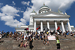 Over looking Senate Square at the end of a peace march through central Helsinki a day ahead of the summit between US President Donald Trump and Russian President Vladimir Putin in Helsinki, Finland on July 15, 2018.
