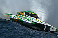 Regates de Valleyfield, 6-8 July,2001 Salaberry de Valleyfield, Quebec, Canada.Copyright©F.Peirce Williams 2001.Claude Bergeron, CE-007, 5 Litre class hydroplane..F. Peirce Williams .photography.P.O.Box 455  Eaton, OH 45320.p: 317.358.7326  e: fpwp@mac.com