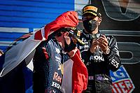 5th September 2021: Circuit Zandvoort, Zandvoort, Netherlands;  Formula 1 Dutch Grand Prix at the CM.com Circuit Zandvoort, Max verstappen wins the dutch Grand Prix and walks pass Lewis Hamilton with his dutch flag
