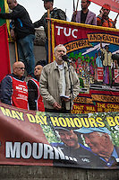 Jeremy Corbyn MP (Labour Member of Parliament for Islington North).<br /> <br /> London, 01/05/2014. Thousands of people marched in central London to celebrate the International Workers' Day dedicated this year to the two great leaders, Bob Crow (General Secretary & leader of the Rail Maritime and Transport Union, RMT) and Tony Benn (Former Labour Cabinet Minister, Socialist and leading left-wing and anti-war campaigner), both passed away in March 2014. The rally started in Clerkenwell Green and ended in Trafalgar Square where speakers gave speeches remembering the two late leaders, in defence of worker's rights, in protest against the coalition Government spending cuts and policies, and in support and solidarity with the other demonstrations held around the world.
