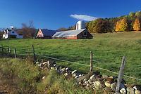 red barn, Cambridgesport, VT, Vermont, Red barn on a farm in autumn in Cambridgesport.