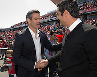 April 27, 2013: Toronto FC head coach Ryan Nelsen greets and shakes hands with New York Red Bulls head coach Mike Petke before a game between Toronto FC and the New York Red Bulls at BMO Field  in Toronto, Ontario Canada..The New York Red Bulls won 2-1.