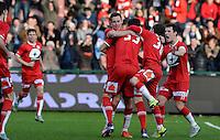 KV Kortrijk - Club Brugge : vreugde bij Kortrijk na de 1-1 gelijkmaker <br /> Foto VDB / Bart Vandenbroucke