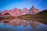 Baita Segantini and Pale di San Martino reflection