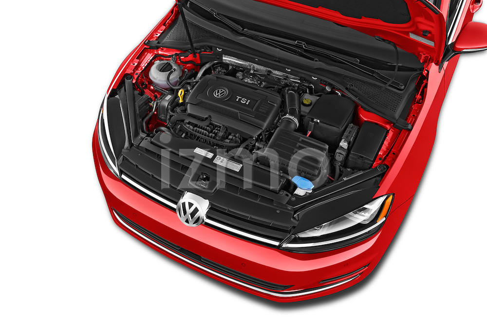 Car Stock 2015 Volkswagen Golf Highline 5 Door Wagon 2WD Engine high angle detail view