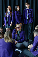 Pictured L-R: Year 10 pupils Tamzin Samuels, Jenna Roderick and James Lockey rehearse Wales National Opera's Rhondda Rips It UP at of John Frost School in Newport, Wales, UK. Thursday 11 May 2018<br /> Re: Welsh National Opera is creating a new musical hall-style all female piece for the summer called Rhondda Rips It Up. It's about the life of suffragette Lady Rhondda with songs inspired by suffragette slogans. Opera opening next month in Newport, south Wales, where Lady Rhondda blew up a postbox with a home-made bomb and went to jail for.
